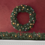 Pre-Lit Traditional Wreath and Garland