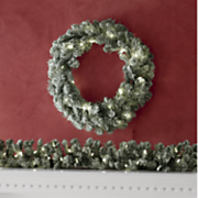 Flocked Pre-Lit Wreath and Garland