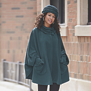 fleece ruffle trim cape