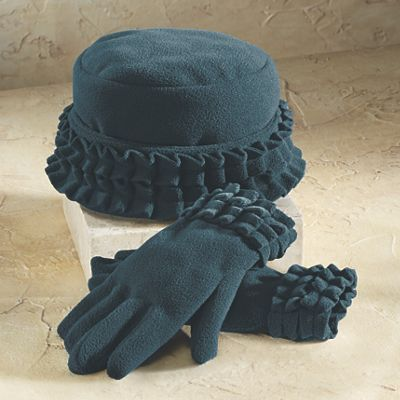 Ruffle Trim Glove and Hat Set