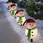 4 piece snowman pathway stake light set