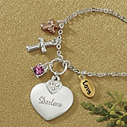 name birthstone heart and charms pendant