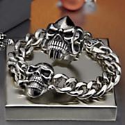 stainless steel skull link bracelet