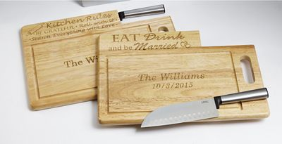Personalized Cutting Board with Santoku Knife