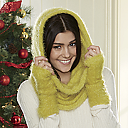 fuzzy bright scarf glove set