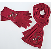 velvet glove and scarf with flowered embroidery