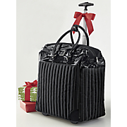 quilted stripe everyday or carry on rolling tote