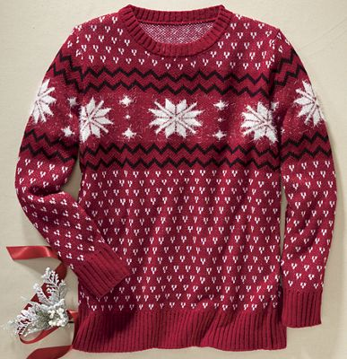 Fuzzy Snowflakes Metallic Sweater