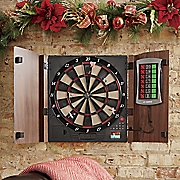 personalized electronic dartboard with cabinet