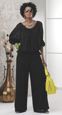 Jean Blouse and Wide Leg Pant