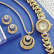 rhinestone watch  necklace and earring set