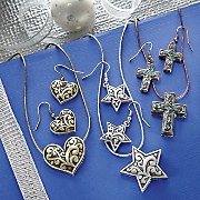 Heart, Star or Cross Necklace and Earring Set