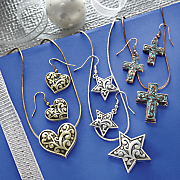 heart  star or cross necklace and earring set