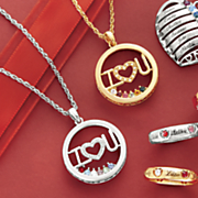 family birthstone i heart u necklace