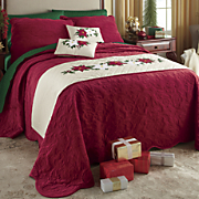 Holiday Appliqued Bedscarf and Pillow