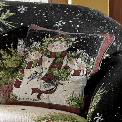 Snowman Family Decorative Pillow