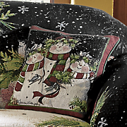 snowman family decorative pillow