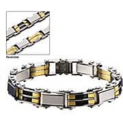 stainless steel two tone reversible bracelet