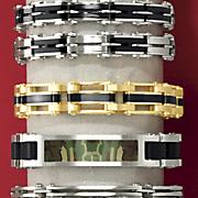 Stainless Steel Goldtone/Black Bracelet
