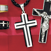 stainless steel double layer cross pendant