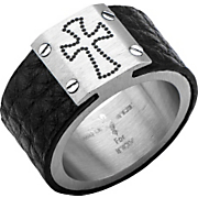 stainless steel cross leather wrap ring