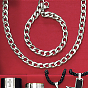 stainless steel curb chain necklace and bracelet set