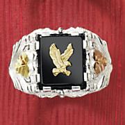 black hills gold eagle emblem ring