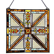 southwestern mission style stained glass panel