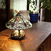 stained glass mini dragonfly table lamp