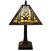 santa fe mission style stained glass table lamp