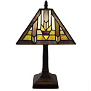 Santa Fe Mission-Style Stained Glass Table Lamp