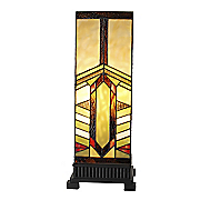 Stained Glass Mission-Style Stone Mountain Pillar Table Lamp