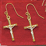 10k gold two tone crucifix earrings
