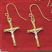 10K Gold Two-Tone Crucifix Earrings