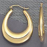 Yellow Gold Wide Hoop Earrings