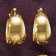 wide yellow gold hoop earrings