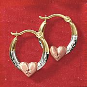 10K Gold Tri-Color Hoop Earrings