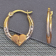 gold tri color hoop earrings