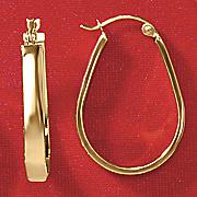 10k yellow gold oblong hoop earrings