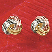 10k gold tri color love knot post earrings