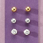 10k gold 3 pair post earring set