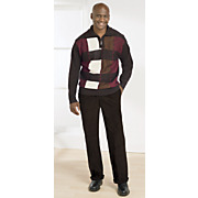 block design sweater and cord pant set by akademiks