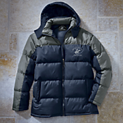 colorblock bubble jacket by beverly hills polo club