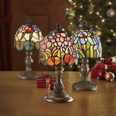 3-Piece Stained Glass Lamp Set