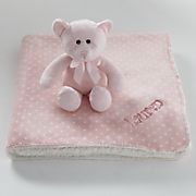personalized plush blanket with bear