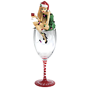 dreaming of a  wine christmas   figurine and wine glass