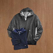 men s yarn dyed henley hoodie by swiss cross