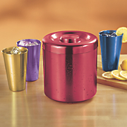 Set of Aluminum Tumblers and Ice Bucket