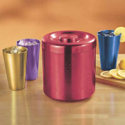 Set of Aluminum Tumblers and Ice Bucket