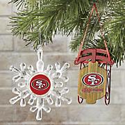 NFL Snowflake/Sled Ornament Set